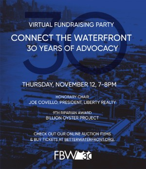 Connect the Waterfront – 30 Years of Advocacy – Virtual Fundraising Party