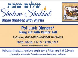 Shalom Shabbat - Pot Luck Dinners* with Cantor Jeff