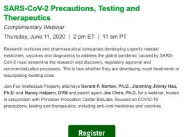 Webinar: SARS-CoV-2 Precautions, Testing and Therapeutics
