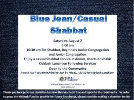 Beth El Synagogue Blue Jean Casual Shabbat