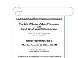"""Beth El Synagogue and JFCS Present """"Using Your Wits; Part 2"""""""